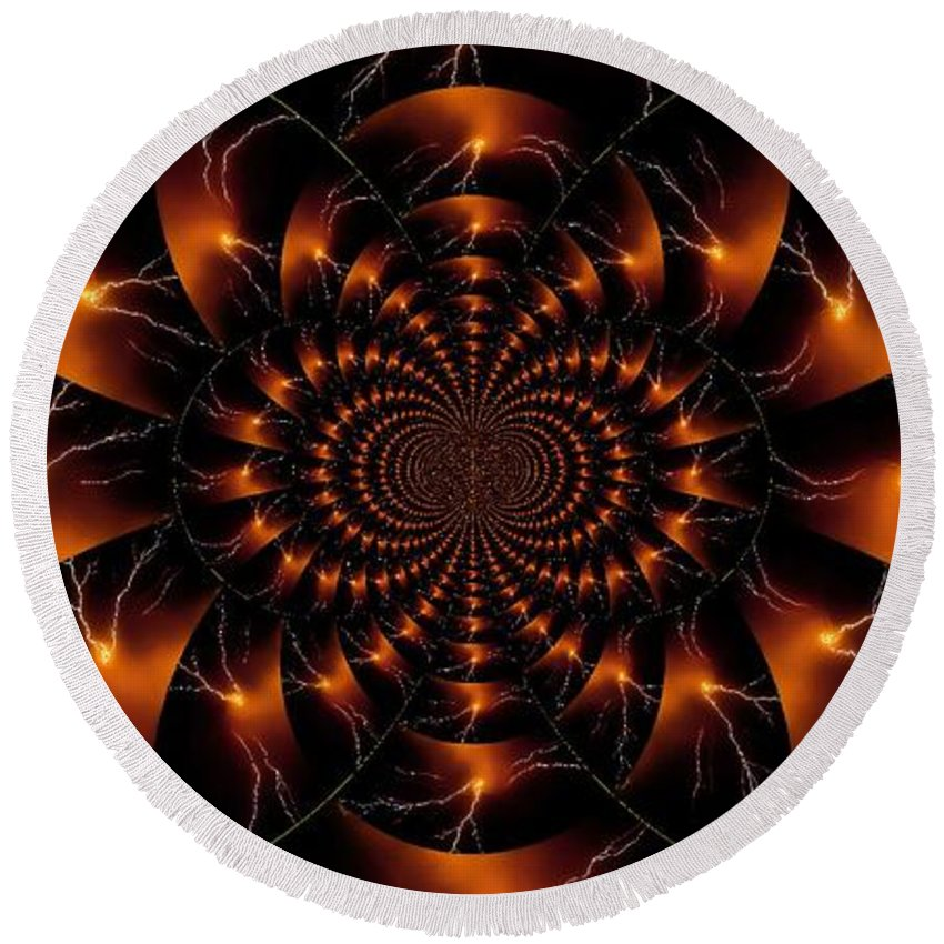 Abstract Round Beach Towel featuring the photograph Golden Lightning Illusion by Jesse Post