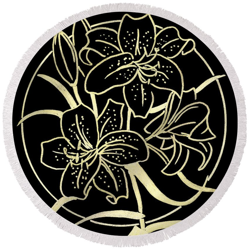 Lily Round Beach Towel featuring the drawing Golden Lilies by Masha Batkova