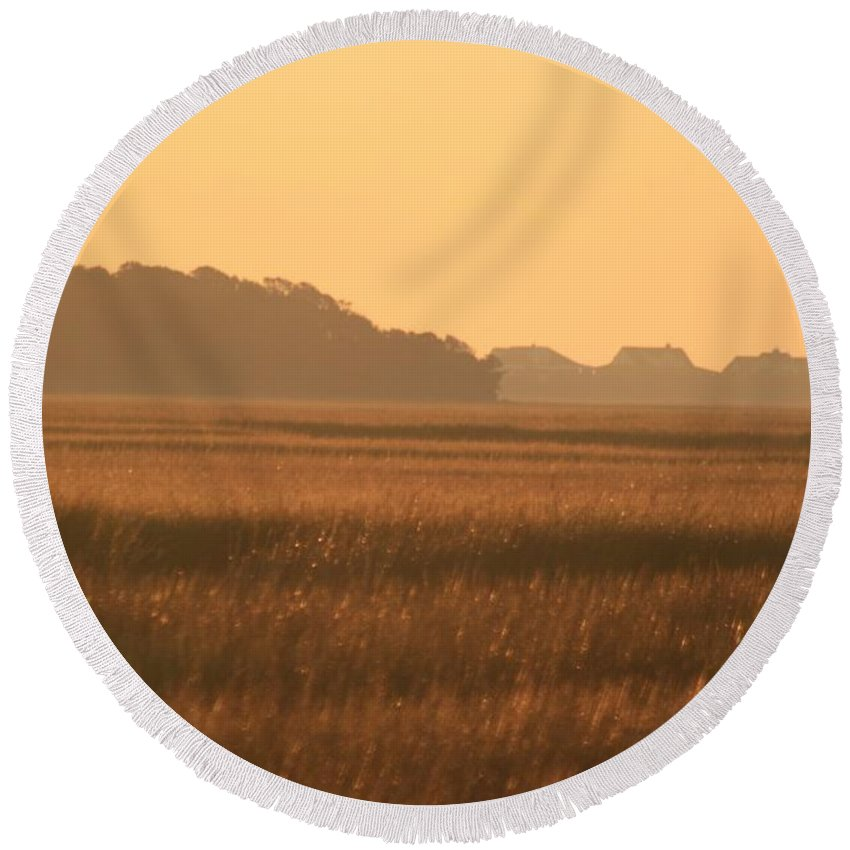 Marsh Round Beach Towel featuring the photograph Golden Marshes by Nadine Rippelmeyer