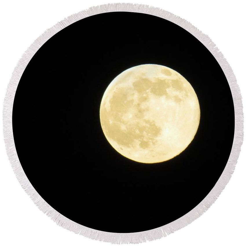 Moon Round Beach Towel featuring the photograph Golden Moon by FL collection