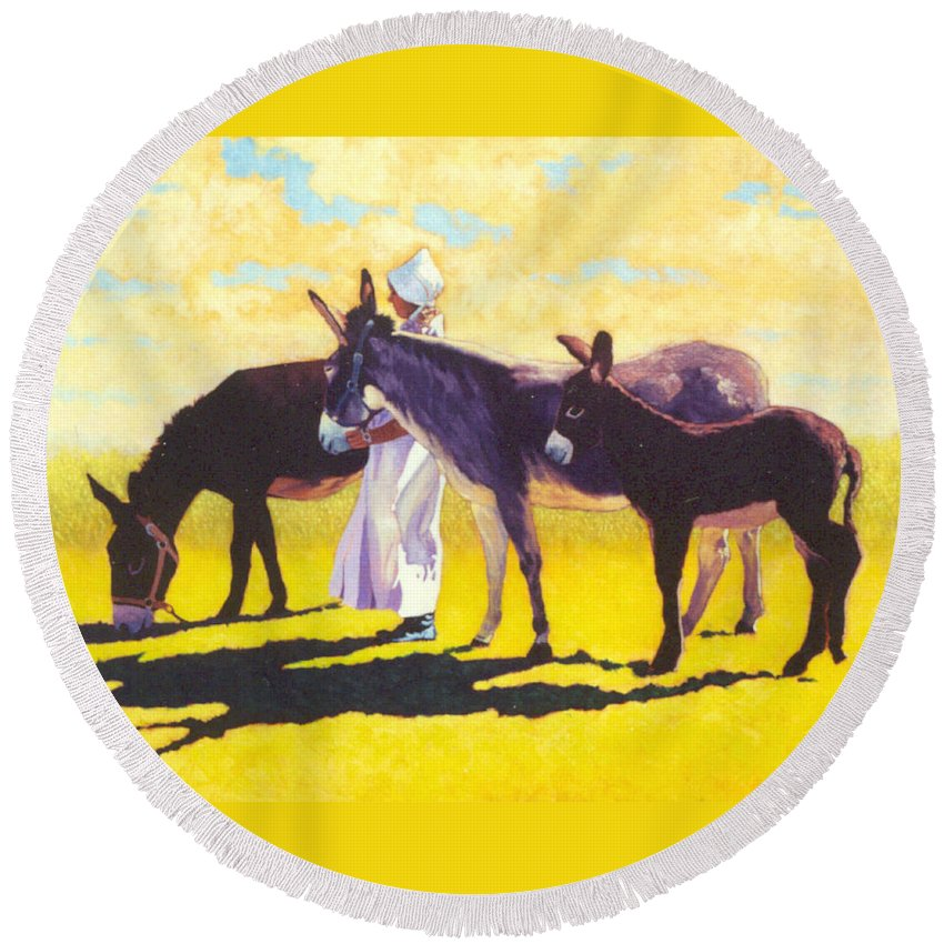 Mules Round Beach Towel featuring the painting Golden Morning by Jim Bob Swafford