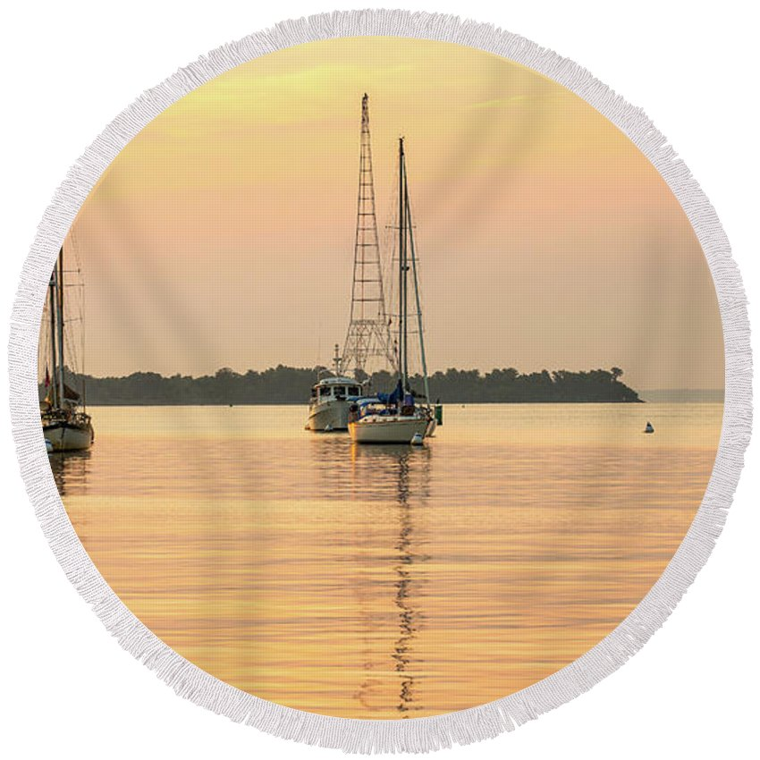 River Round Beach Towel featuring the photograph Golden Morning by Walt Baker