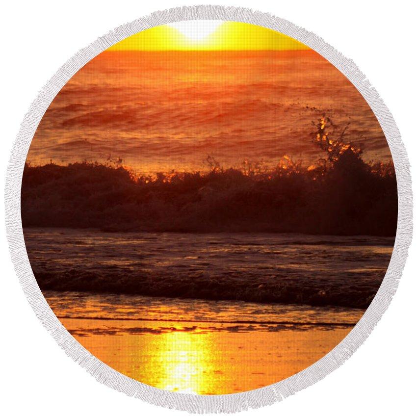 Ocmd 2014 Round Beach Towel featuring the photograph Golden Ocean City Sunrise by Candy Bott