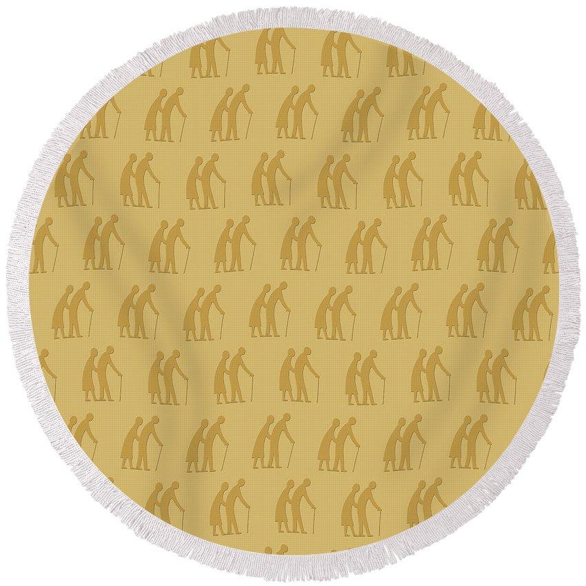 Background Round Beach Towel featuring the digital art Golden Oldies Wallpaper by Richard Wareham