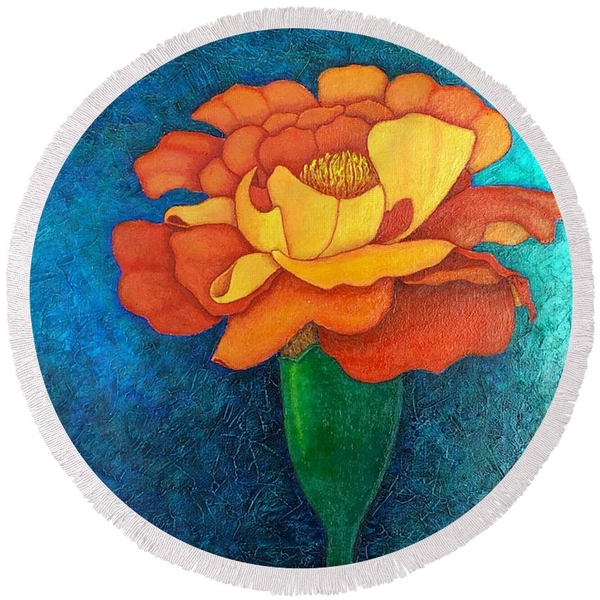 Marigold Round Beach Towel featuring the painting Golden Petals by Madalena Lobao-Tello