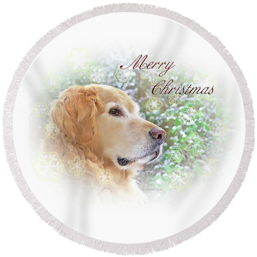 Golden Retriever Round Beach Towel featuring the photograph Golden Retriever Dog Merry Christmas Card by Jennie Marie Schell