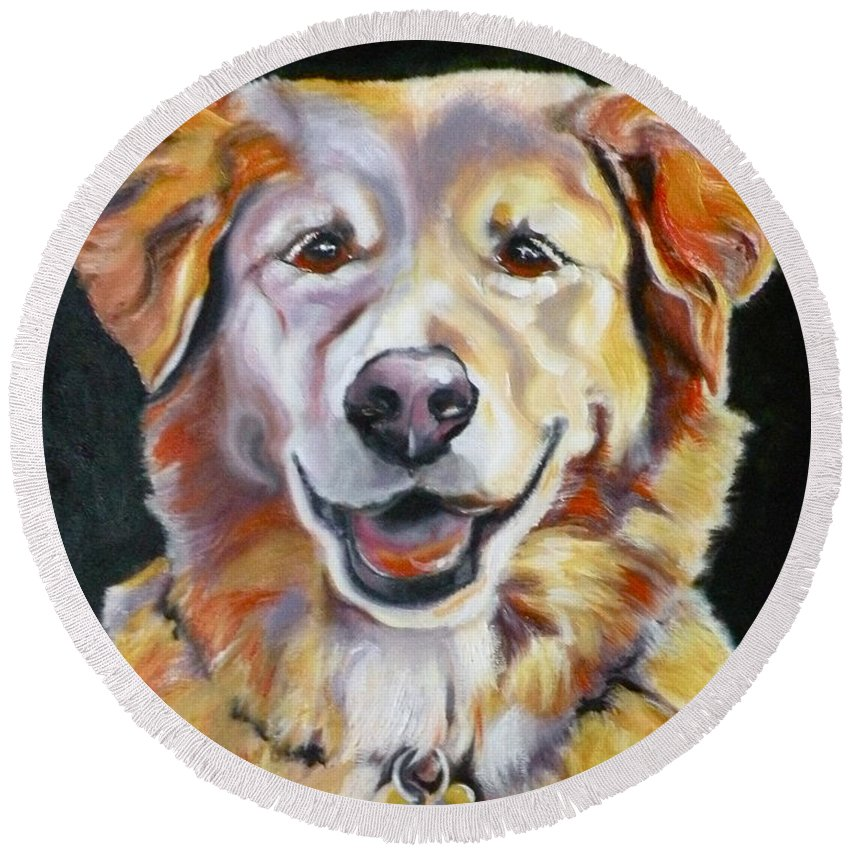 Dogs Round Beach Towel featuring the painting Golden Retriever Most Huggable by Susan A Becker