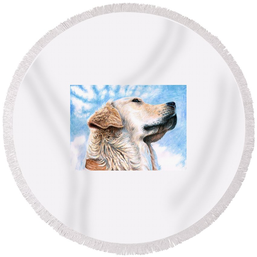 Dog Round Beach Towel featuring the painting Golden Retriever by Nicole Zeug