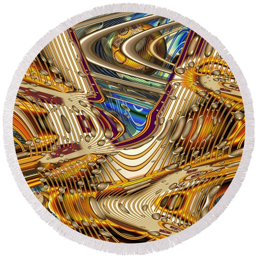 Abstract Round Beach Towel featuring the digital art Golden Section by Ron Bissett