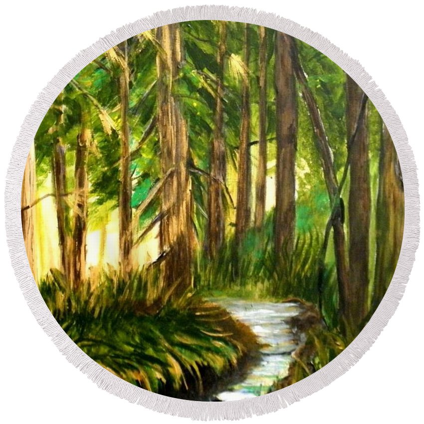 #woods Round Beach Towel featuring the painting Golden Silence by Linda Waidelich