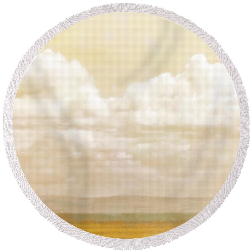 Clouds Round Beach Towel featuring the photograph Golden Sky by Hal Halli