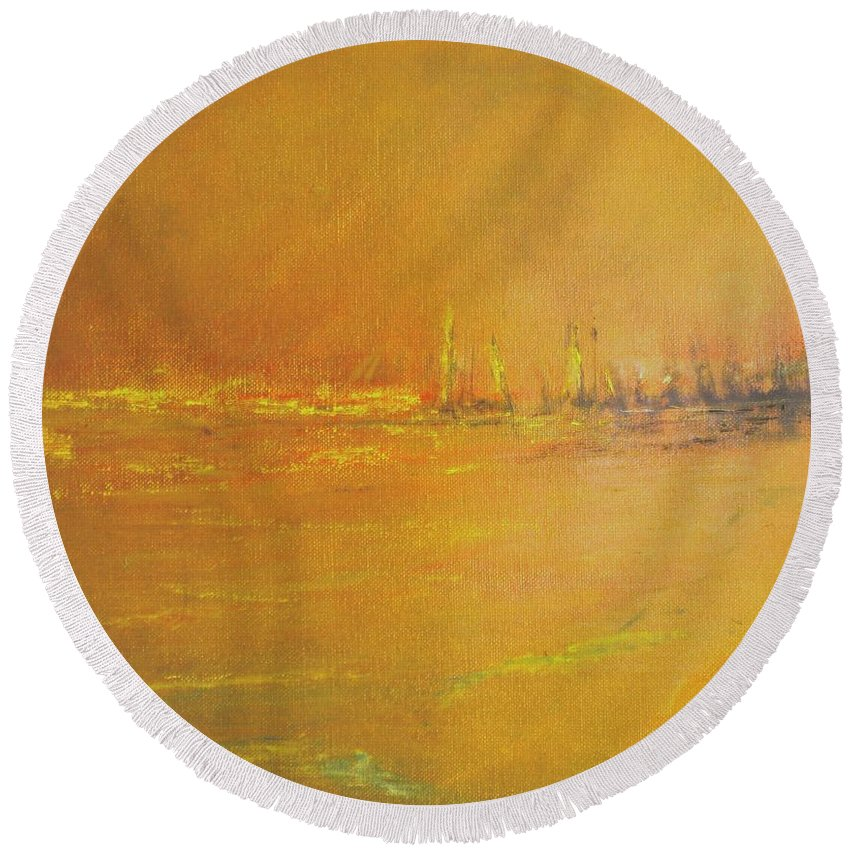 Ships Round Beach Towel featuring the painting Golden Sky by Jack Diamond