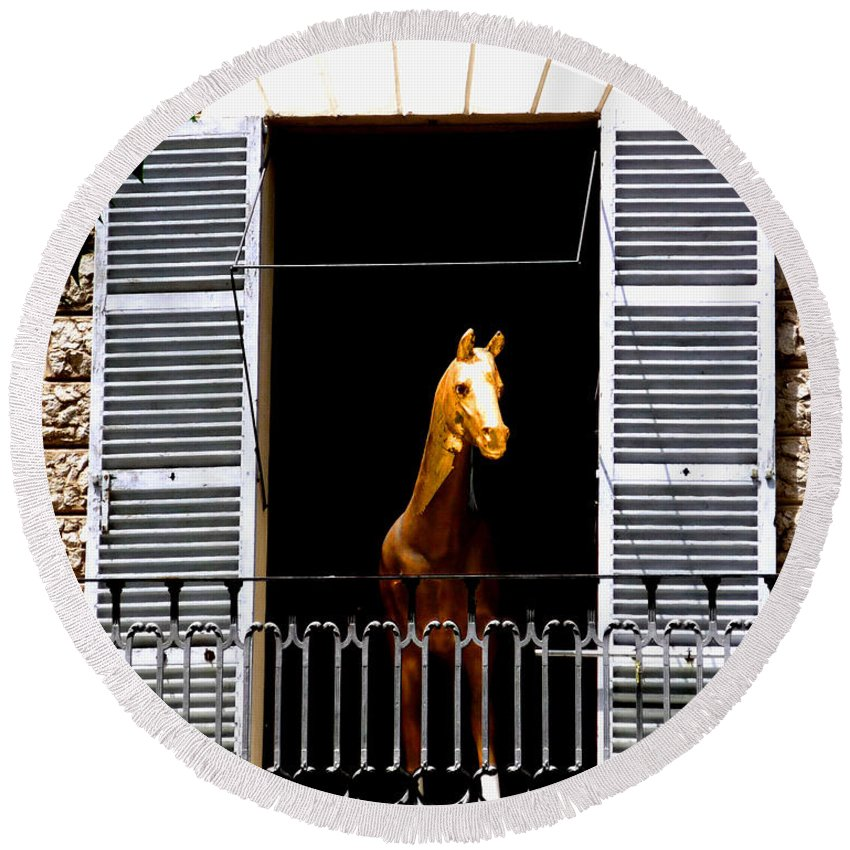 Horse Round Beach Towel featuring the photograph Golden Stallian by Charles Stuart
