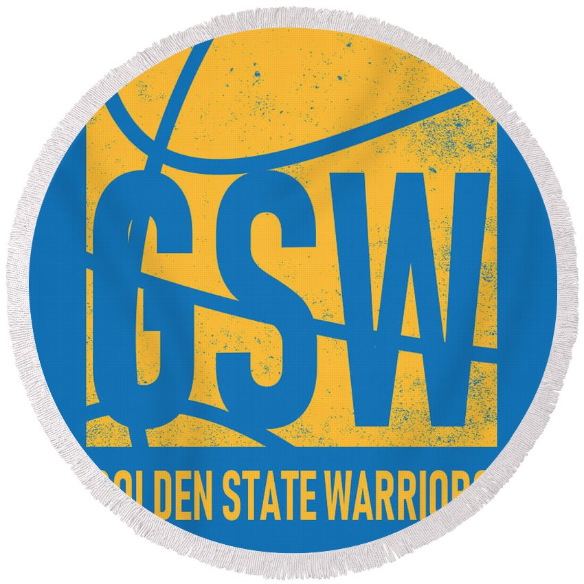 Warriors Round Beach Towel featuring the mixed media Golden State Warriors City Poster Art by Joe Hamilton