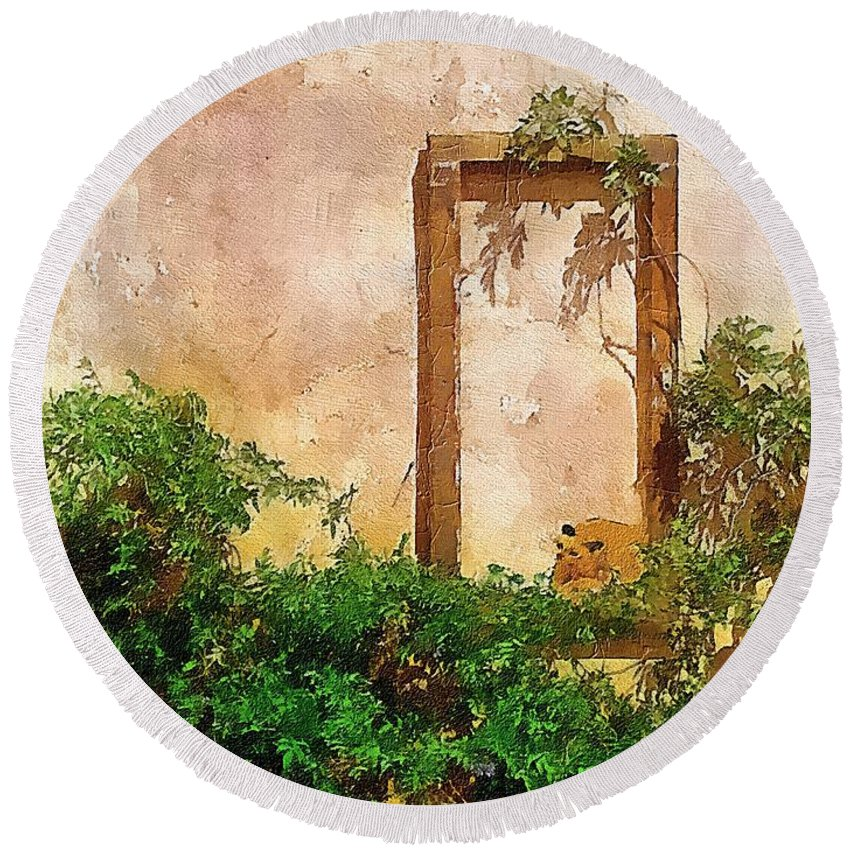 Cat Round Beach Towel featuring the painting Golden Sun Golden Cat by RC DeWinter