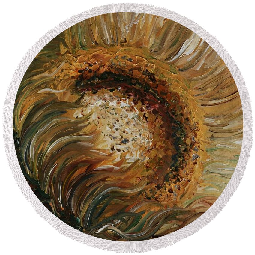 Sunflower Round Beach Towel featuring the painting Golden Sunflower by Nadine Rippelmeyer
