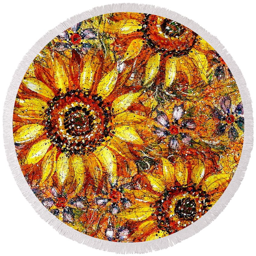 Sunflowers Round Beach Towel featuring the painting Golden Sunflower by Natalie Holland