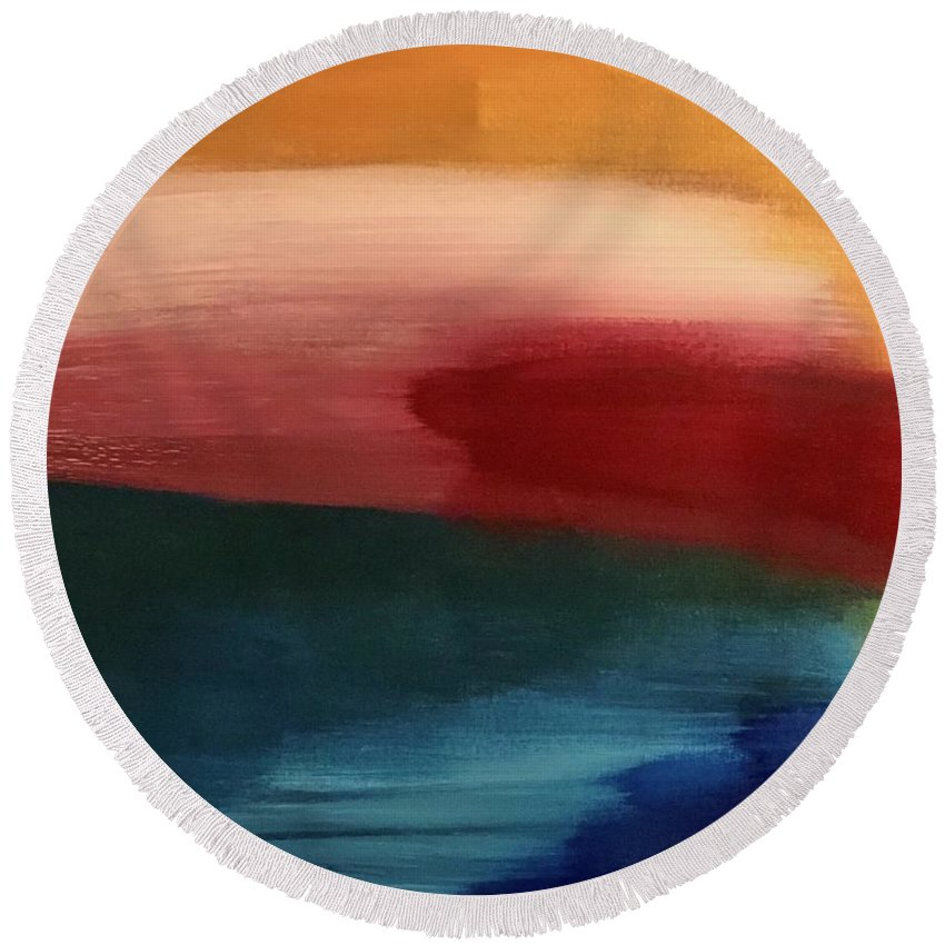 Abstract Sunset Round Beach Towel featuring the painting Golden Sunset by Marcus Mabry