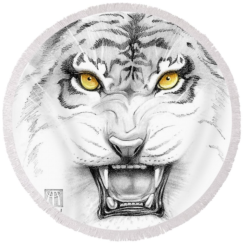 Amber Round Beach Towel featuring the digital art Golden Tiger Eyes by Melissa A Benson