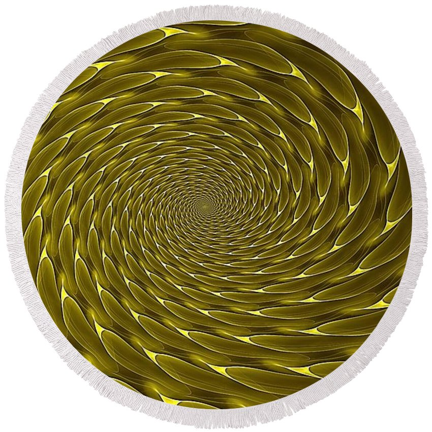 Spiral Vortex Round Beach Towel featuring the digital art Goldenrod Vortex by Doug Morgan