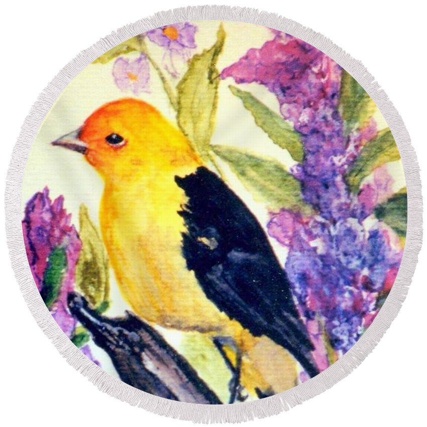 Birds Round Beach Towel featuring the painting Goldfinch by Gail Kirtz