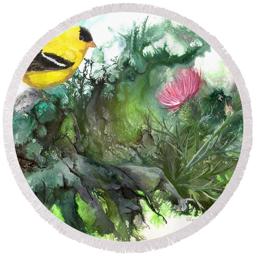Bird Round Beach Towel featuring the painting Goldfinch by Sherry Shipley