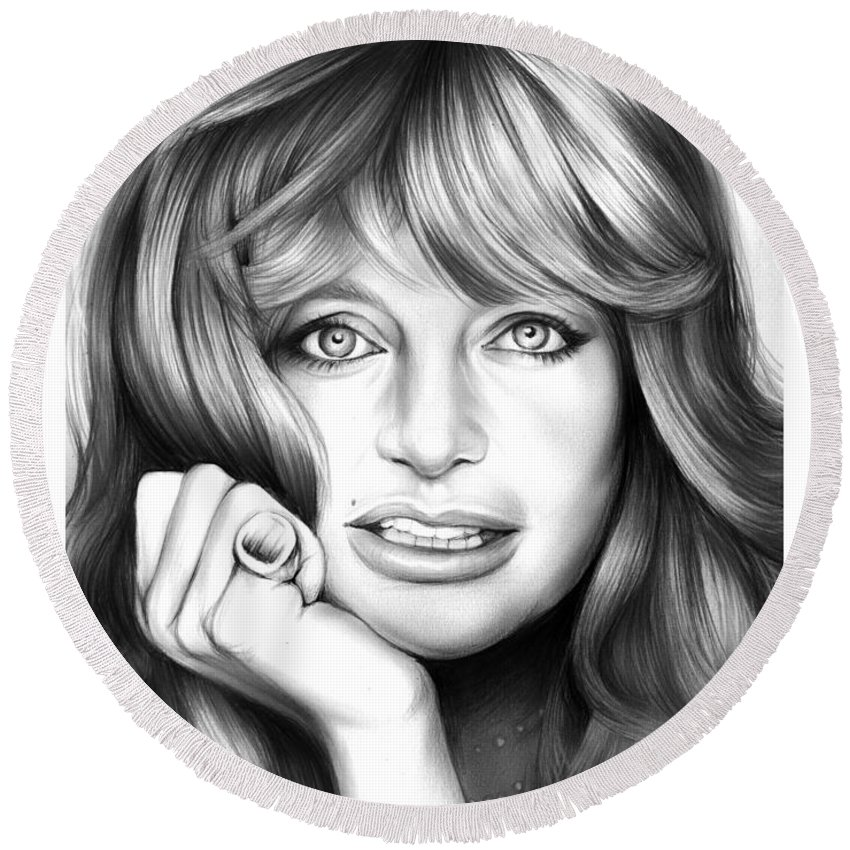Goldie Hawn Round Beach Towel featuring the drawing Goldie Hawn by Greg Joens
