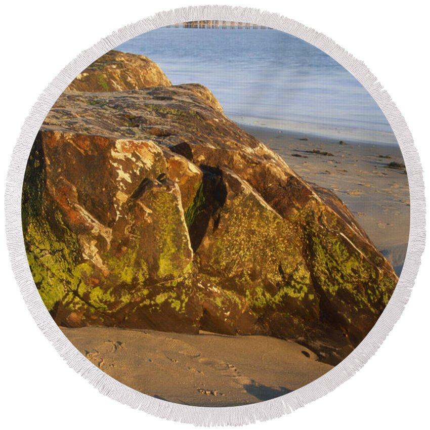 Goleta Pier Round Beach Towel featuring the photograph Goleta Pier by Soli Deo Gloria Wilderness And Wildlife Photography