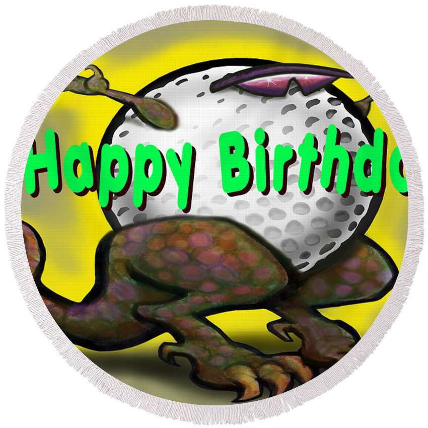 Golf Round Beach Towel featuring the greeting card Golf A Saurus Birthday by Kevin Middleton