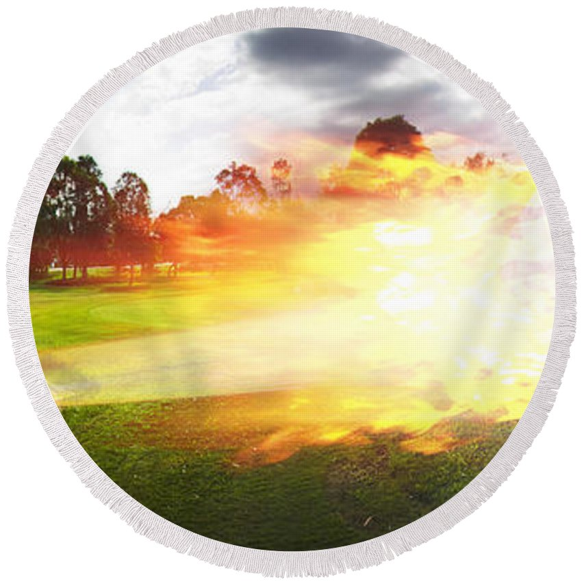 Vacation Round Beach Towel featuring the photograph Golf Ball On Fire by Jorgo Photography - Wall Art Gallery