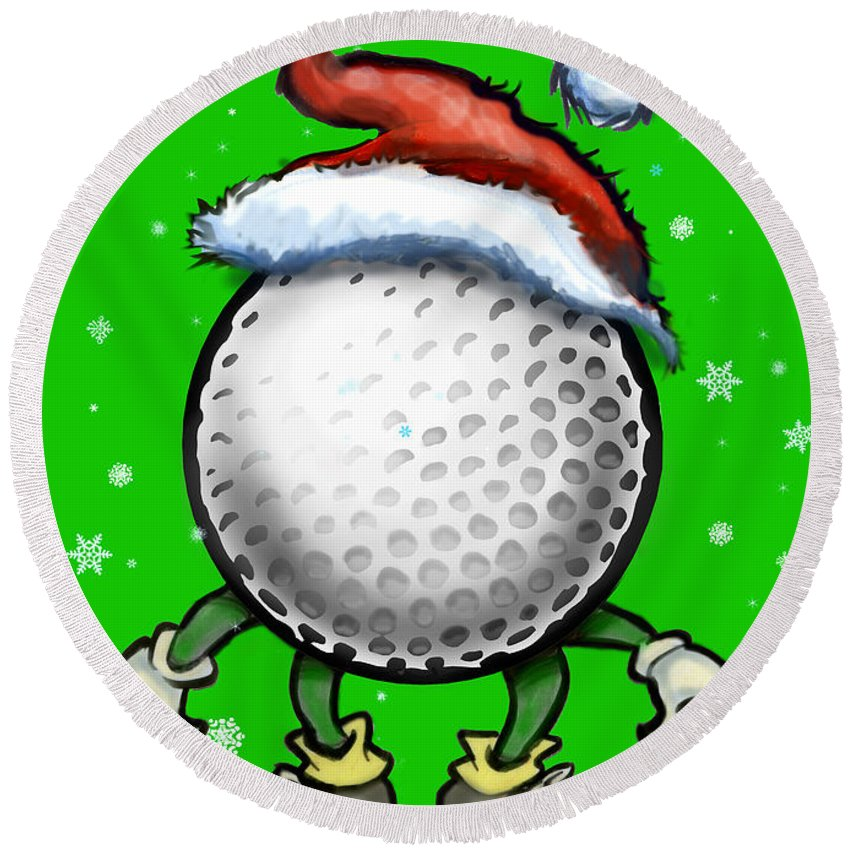 Golf Round Beach Towel featuring the digital art Golf Christmas by Kevin Middleton
