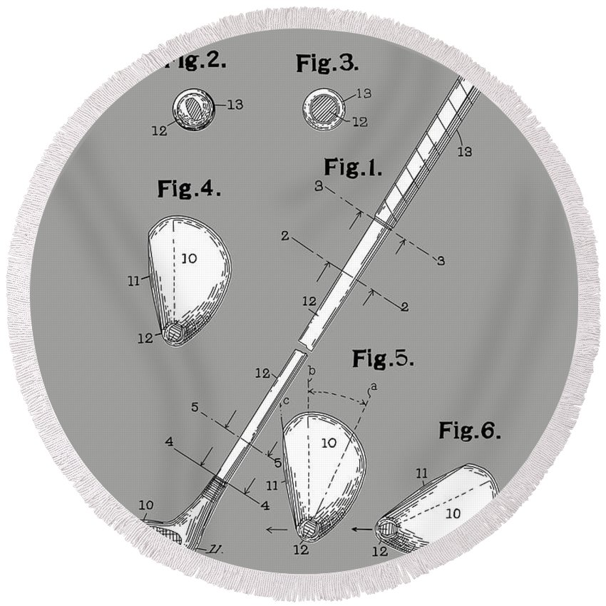 Golf Round Beach Towel featuring the digital art Golf Club Patent Drawing Grey by Bekim Art
