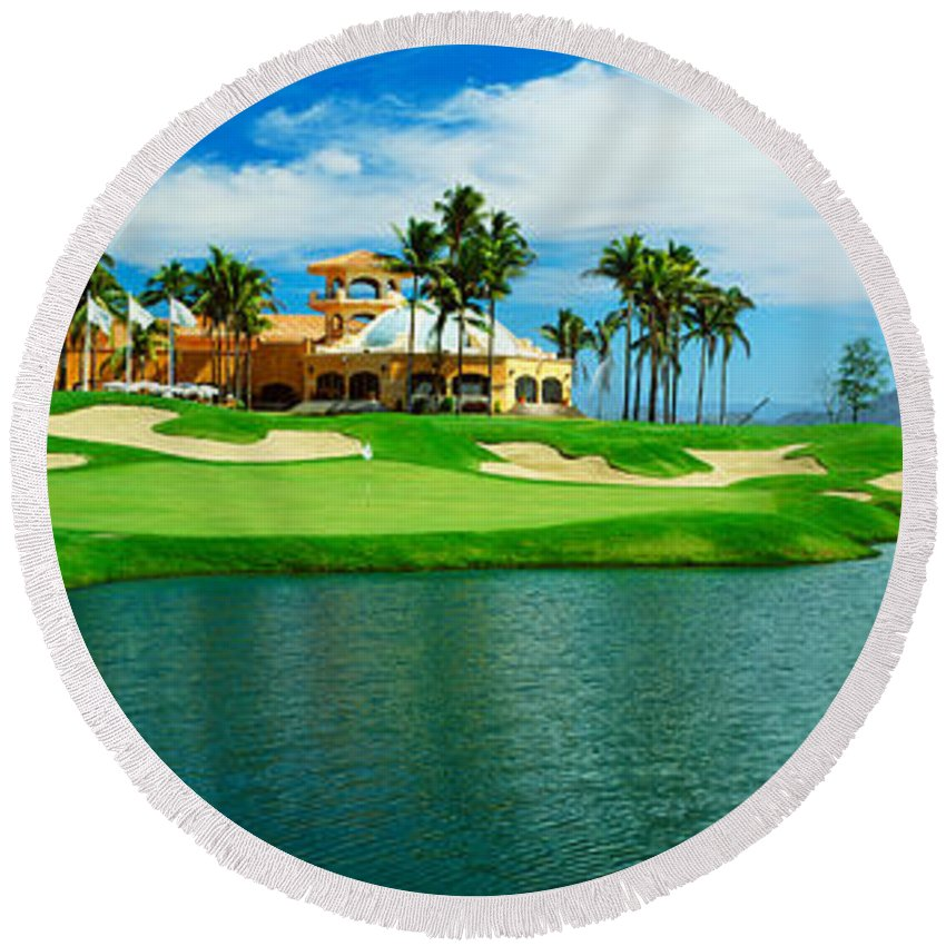 Photography Round Beach Towel featuring the photograph Golf Course At Isla Navadad Resort by Panoramic Images