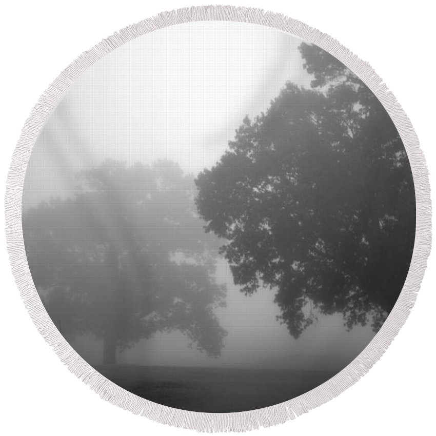 Tree Round Beach Towel featuring the photograph Golf Course With Fog by Amanda Barcon