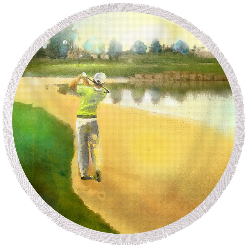 Golf Round Beach Towel featuring the painting Golf In Club Fontana Austria 02 by Miki De Goodaboom