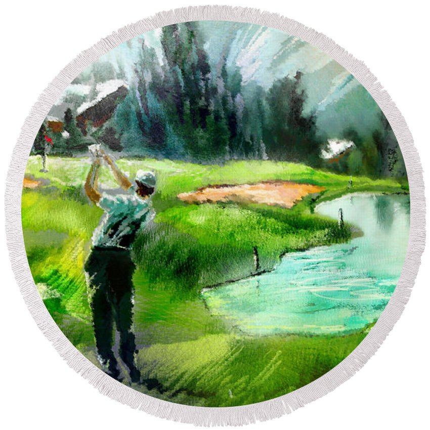 Golf Round Beach Towel featuring the painting Golf In Crans Sur Sierre Switzerland 01 by Miki De Goodaboom