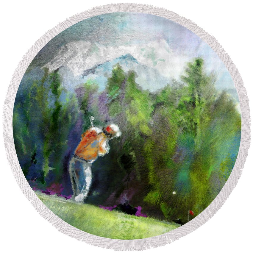 Golf Round Beach Towel featuring the painting Golf In Crans Sur Sierre Switzerland 02 by Miki De Goodaboom