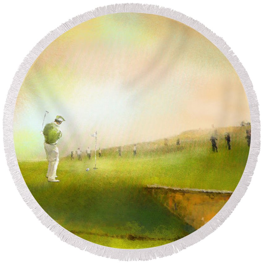 Golf Round Beach Towel featuring the painting Golf In Scotland Saint Andrews 02 by Miki De Goodaboom