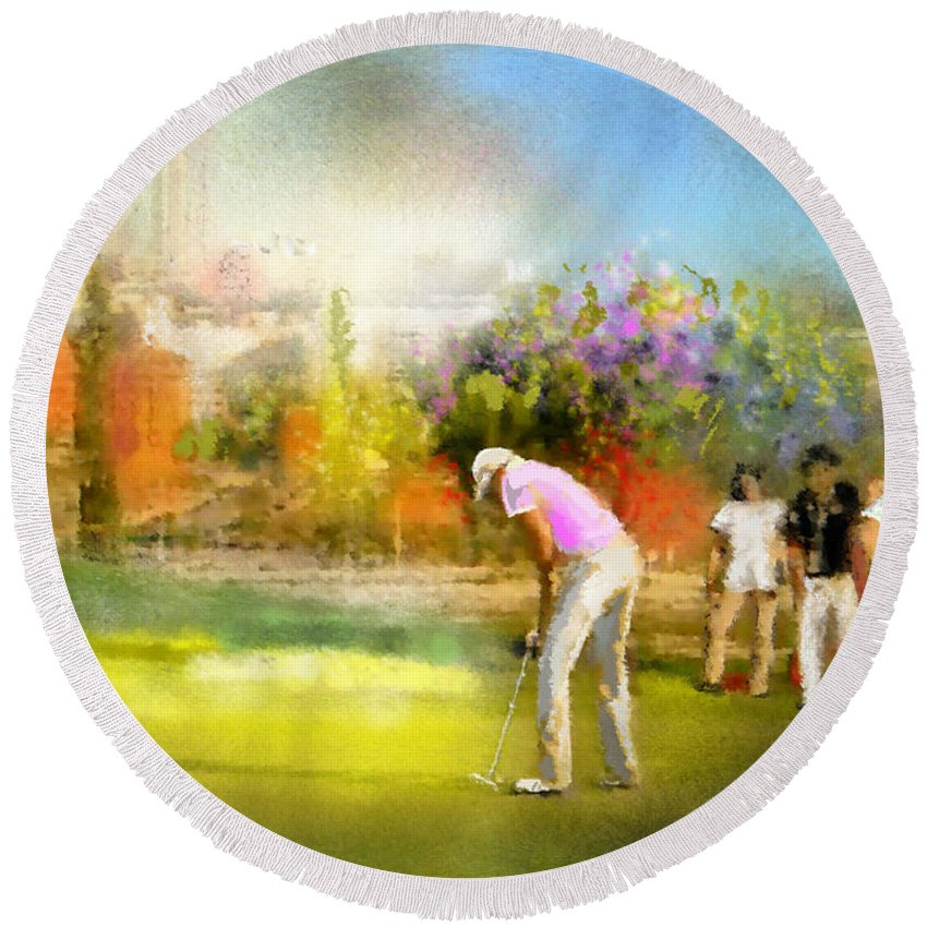 Golf Round Beach Towel featuring the painting Golf Madrid Masters 02 by Miki De Goodaboom