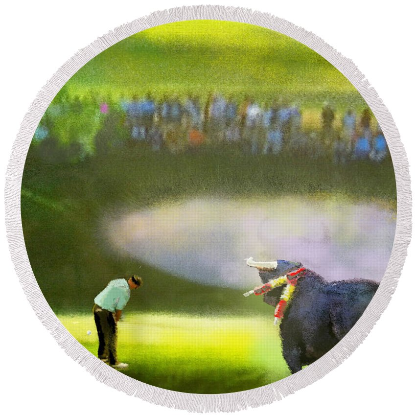 Golf Round Beach Towel featuring the painting Golf Madrid Masters 03 by Miki De Goodaboom