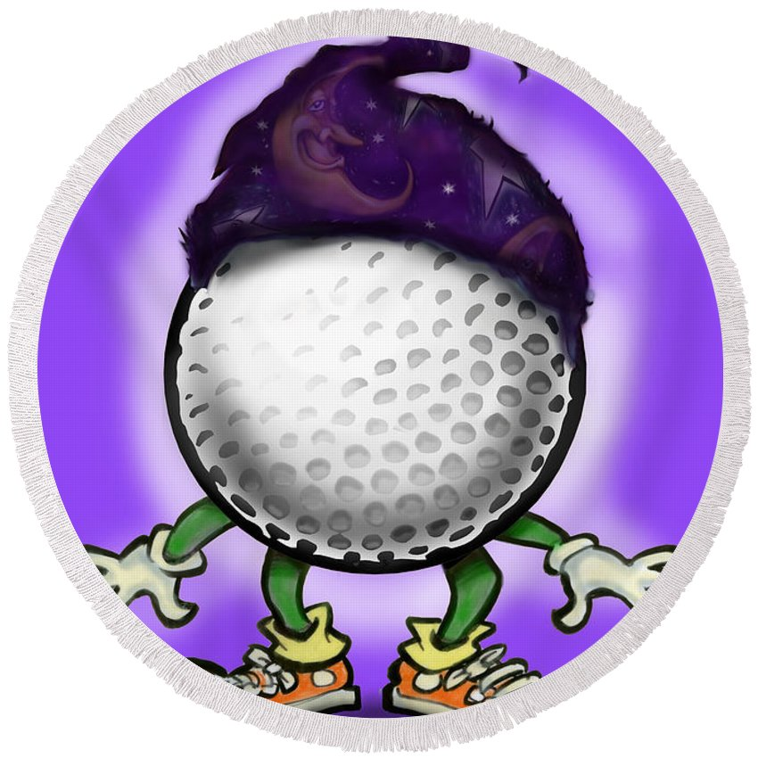 Golf Round Beach Towel featuring the digital art Golf Wizard by Kevin Middleton