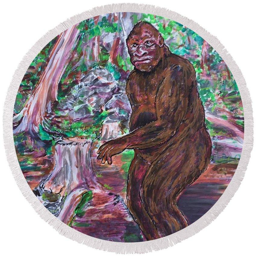 Bigfoot Sasquatch Yeti Skunk Ape Crytozoology Newmarket New Hampshire Biped Granite State Ash Swamp Road Goliath Round Beach Towel featuring the painting Goliath - The Bigfoot Of Ash Swamp Road by Jonathan Morrill