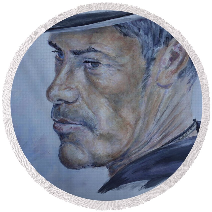 Portrait Round Beach Towel featuring the painting Gondalier by Duncan Sawyer