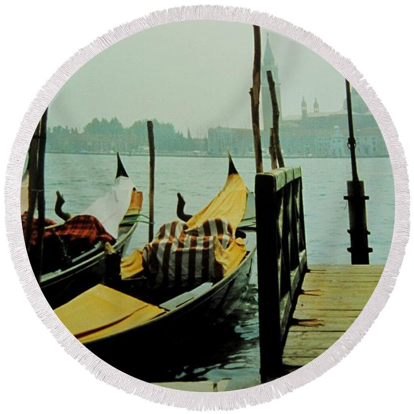 Venice Round Beach Towel featuring the photograph Gondolas by Ian MacDonald