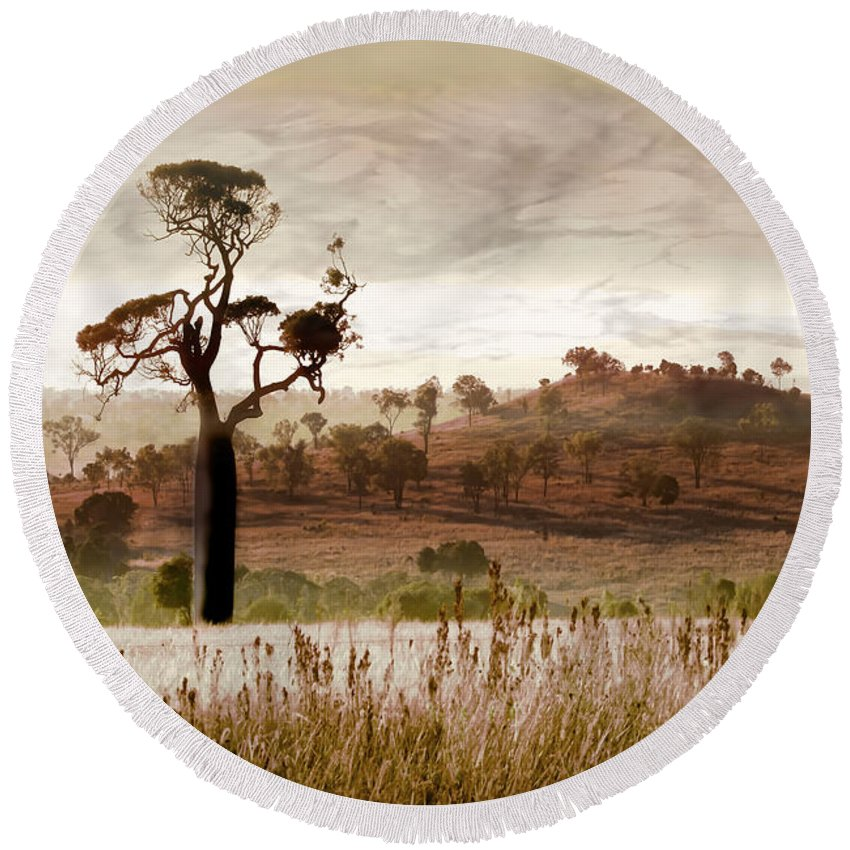 Landscapes Round Beach Towel featuring the photograph Gondwana Boab by Holly Kempe