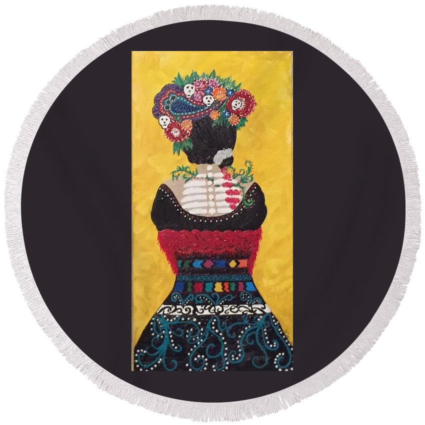 Frida Round Beach Towel featuring the painting Gone by Dolores Gonzalez-Jarvis