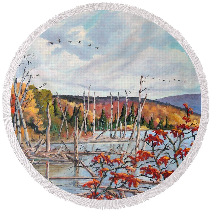 Original Painting Round Beach Towel featuring the painting Gone South by Richard T Pranke