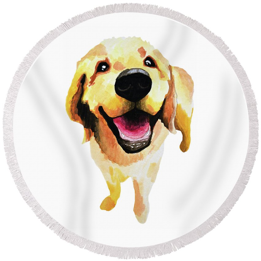 Dog Round Beach Towel featuring the painting Good Boy by Amy Giacomelli