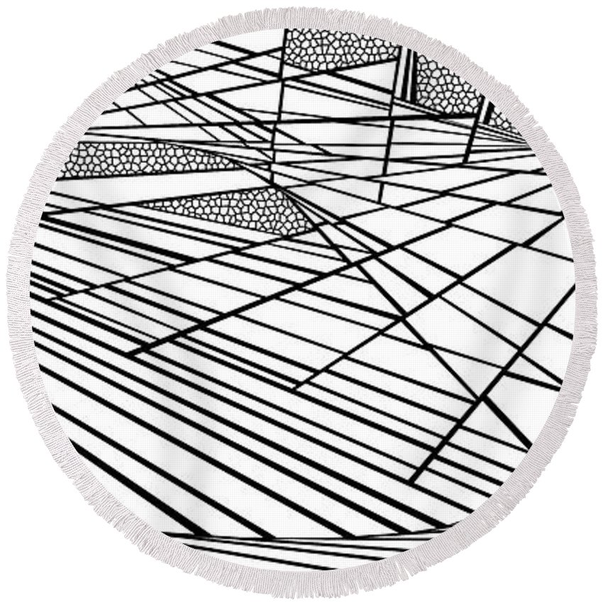 Dynamic Black And White Round Beach Towel featuring the painting Good Friday by Douglas Christian Larsen