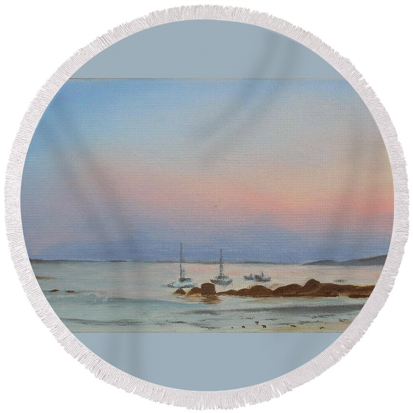 Seascape Round Beach Towel featuring the painting Good Harbor by Lea Novak
